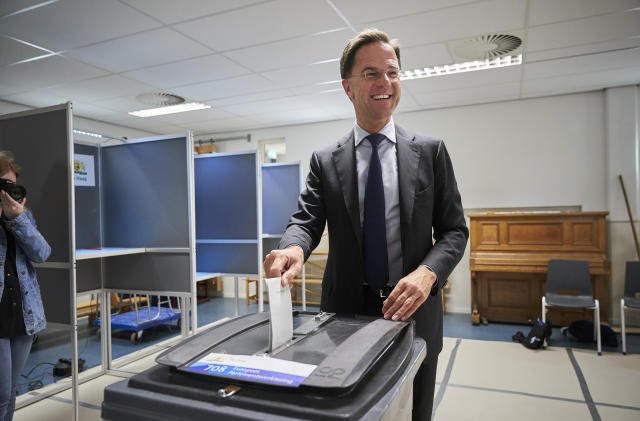 Netherlands Prime Minister Mark Rutte casts his ballot for the European elections in The Hague, Netherlands, Thursday, May 23, 2019. (AP Photo/Phil Nijhuis)