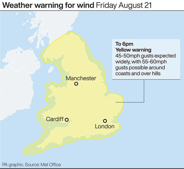 Weather warning for wind Friday August 21