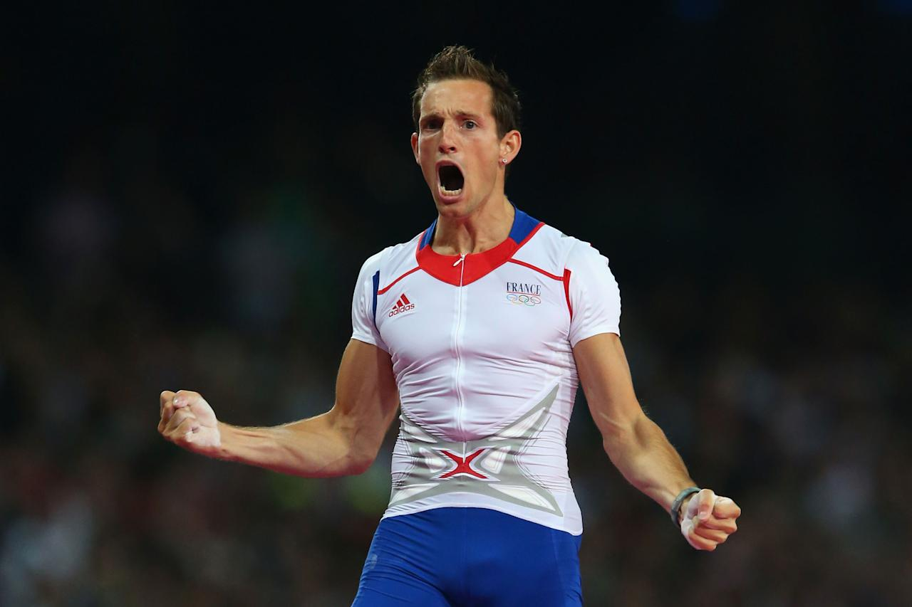 LONDON, ENGLAND - AUGUST 10:  Renaud Lavillenie of France celebrates an attempt during the Men's Pole Vault Final on Day 14 of the London 2012 Olympic Games at Olympic Stadium on August 10, 2012 in London, England.  (Photo by Alex Livesey/Getty Images)