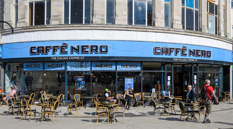 Hastings, United Kingdom - July 31 2020:  The frontage of Caffe Nero on Queens Road