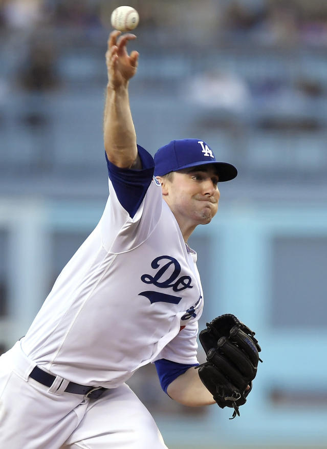 Los Angeles Dodgers pitcher Ross Stripling throws during the first inning of the team's baseball game against the San Francisco Giants on Friday, June 15, 2018, in Los Angeles. (AP Photo/Mark J. Terrill)