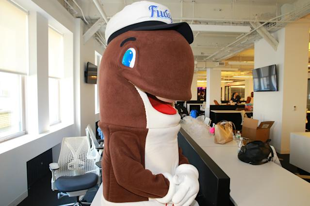 <p>Company mascot Fudgie the Whale poses for a photo before before performing duties as an intern for the day at Yahoo Studios in New York City on Sept. 25, 2017. (Photo: Gordon Donovan/Yahoo News) </p>