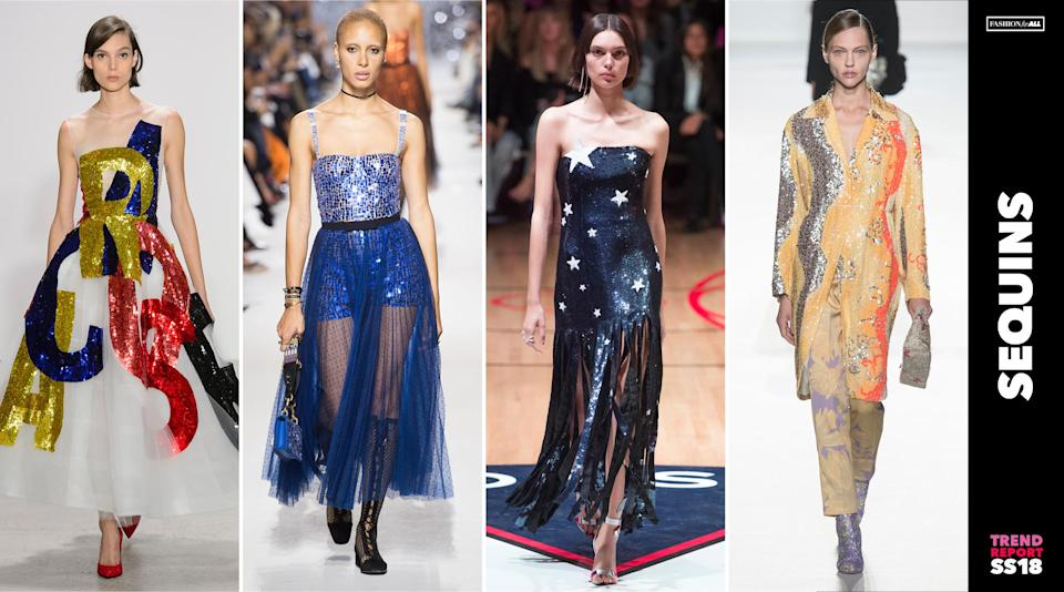 """<p>Bright, colorful sequins are back in fashion. No longer are they considered gaudy and dated. Designers from Oscar de la Renta to Dior are bringing back the """"glitz"""" in glamour. (Photo: ImaxTree) </p>"""