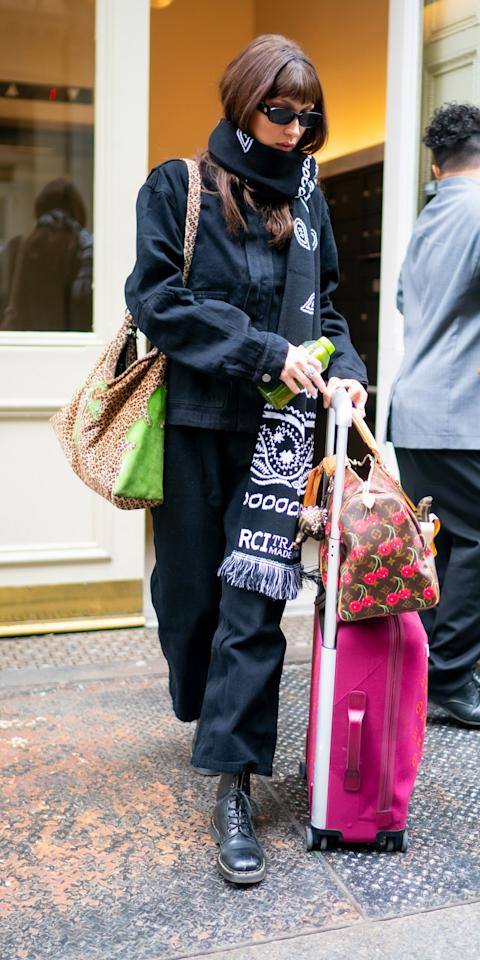 """<p>According to Bella Hadid, no number of patterns is too many. While out in NYC, Hadid wore a simple pair of black jeans (<strong>Shop similar: </strong>$119; <a href=""""https://click.linksynergy.com/deeplink?id=93xLBvPhAeE&mid=1237&murl=https%3A%2F%2Fshop.nordstrom.com%2Fs%2Fsanctuary-harmony-cargo-pants%2F5473203%2Ffull%3F&u1=IS%2CBellaHadid%2Canesta%2C%2CIMA%2C3530156%2C202003%2CI"""" target=""""_blank"""">nordstrom.com</a>), Le Specs sunglasses (<strong>Shop now:</strong> $79; <a href=""""https://click.linksynergy.com/deeplink?id=93xLBvPhAeE&mid=37420&murl=https%3A%2F%2Fwww.matchesfashion.com%2Fus%2Fproducts%2F1310264%3F&u1=IS%2CBellaHadid%2Canesta%2C%2CIMA%2C3530156%2C202003%2CI"""" target=""""_blank"""">matchesfashion.com</a>), and Dr. Martens boots (<strong>Shop now: </strong>$150; <a href=""""https://click.linksynergy.com/deeplink?id=93xLBvPhAeE&mid=1237&murl=https%3A%2F%2Fshop.nordstrom.com%2Fs%2Fdr-martens-1460-boot%2F3301656%2Ffull%3F&u1=IS%2CBellaHadid%2Canesta%2C%2CIMA%2C3530156%2C202003%2CI"""" target=""""_blank"""">nordstrom.com</a>) with a cherry-printed Louis Vuitton duffel bag (<strong>Shop now: </strong>and $7,261; <a href=""""https://click.linksynergy.com/deeplink?id=93xLBvPhAeE&mid=37508&murl=https%3A%2F%2Fwww.farfetch.com%2Fshopping%2Fwomen%2Flouis-vuitton-pre-owned-x-takashi-murakami-2005-keepall-45-cherry-luggage-bag-item-14640963.aspx%3F&u1=IS%2CBellaHadid%2Canesta%2C%2CIMA%2C3530156%2C202003%2CI"""" target=""""_blank"""">farfetch.com</a>) and a cheetah-print shoulder bag (<strong>Shop similar:</strong> $12; <a href=""""https://click.linksynergy.com/deeplink?id=93xLBvPhAeE&mid=1237&murl=https%3A%2F%2Fshop.nordstrom.com%2Fs%2Fbaggu-standard-baggu-printed-ripstop-nylon-tote%2F5476719%2Ffull%3F&u1=IS%2CBellaHadid%2Canesta%2C%2CIMA%2C3530156%2C202003%2CI"""" target=""""_blank"""">nordstrom.com</a>). </p>"""