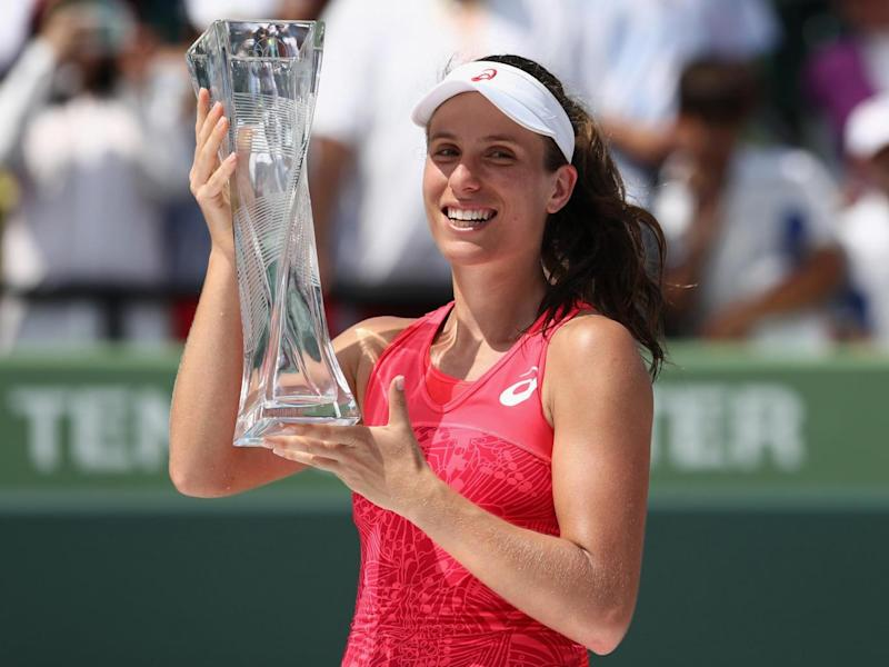 Konta became the first Brit to win the Miami Open (Getty)
