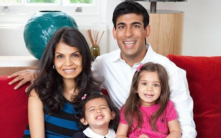 Mr Sunak with his wife Akshata Murthy and their daughters, Krishna and Anoushka - rishisunak.com