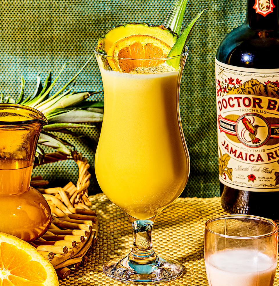 """<p><em>Get buzzed. Fast. </em></p><p><strong>Ingredients</strong></p><p>• 3 oz. dark or gold rum<br>• 2 1/2 oz. pineapple juice<br>• 1 oz. orange juice<br>• 1 oz. coconut cream </p><p><strong>Directions</strong></p><p>Shake ingredients well with ice in cocktail shaker. Strain into a hurricane glass over fresh ice. Garnish with grated nutmeg.</p><p><a class=""""link rapid-noclick-resp"""" href=""""https://www.esquire.com/food-drink/drinks/a14884/pain-killer-drink-recipe-10621636/"""" rel=""""nofollow noopener"""" target=""""_blank"""" data-ylk=""""slk:Read More"""">Read More</a></p>"""