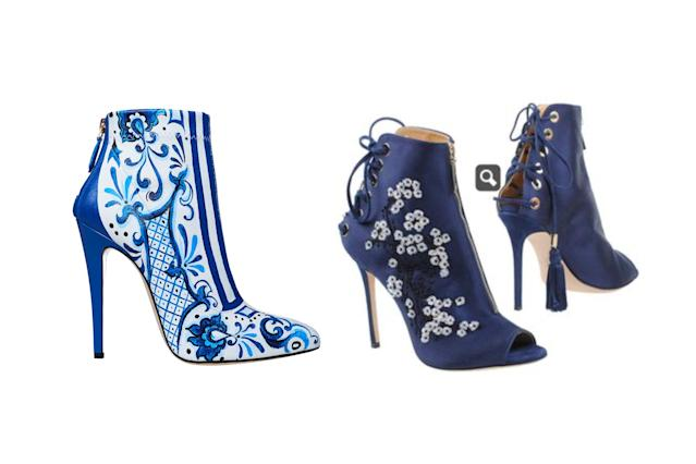 "<p>Brian Atwood for Victoria's Secret ""Porcelain Angel"" print booties, left, and Elisabetta Franchi ankle boots, <a href=""https://www.yoox.com/US/11290868/item?cod10=11290868WM&tp=48213&utm_campaign=Promotion%20%240-199_desktop&utm_medium=shopping&utm_source=polyvore#cod10=11290868WM&sizeId=5&sizeName=6"" rel=""nofollow noopener"" target=""_blank"" data-ylk=""slk:$169 Yoox"" class=""link rapid-noclick-resp"">$169 Yoox</a> (Photo: Victoria's Secret/Yoox) </p>"