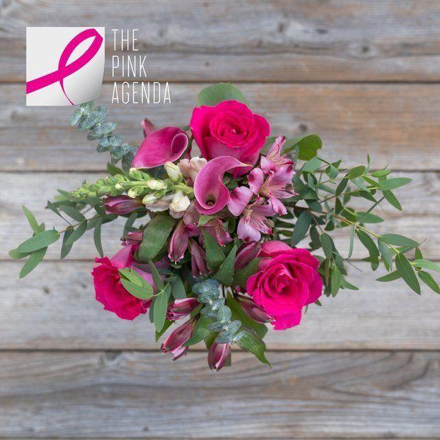 """For Breast Cancer Awareness Month, The Bouqs Co.will donate 20% of the purchase price from The Pink Collection to The Pink Agenda in support of breast cancer research. Get it <a href=""""https://bouqs.com/bouquets/inspiration_pink-roses-callas"""" target=""""_blank"""">here</a>."""