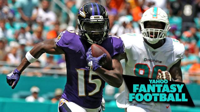 "Baltimore Ravens WR <a class=""link rapid-noclick-resp"" href=""/nfl/players/31857/"" data-ylk=""slk:Marquise Brown"">Marquise Brown</a> led a rookie class of wideouts who had amazing opening day performances. (Charles Trainor Jr./Miami Herald/Tribune News Service via Getty Images)"