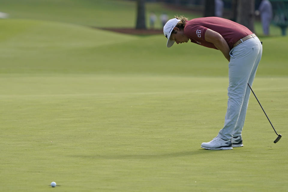 Cameron Smith, of Australia, reacts after missing a birdie putt on the eighth green during the final round of the Masters golf tournament Sunday, Nov. 15, 2020, in Augusta, Ga. (AP Photo/Charlie Riedel)