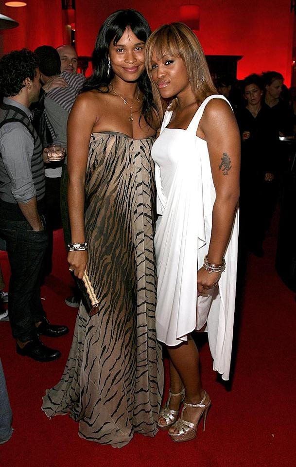 """Joy Bryant opts for a strapless tiger print, while Eve shows off her tattoo in a sleeveless white number. Frazer Harrison/<a href=""""http://www.gettyimages.com/"""" target=""""new"""">GettyImages.com</a> - May 13, 2008"""