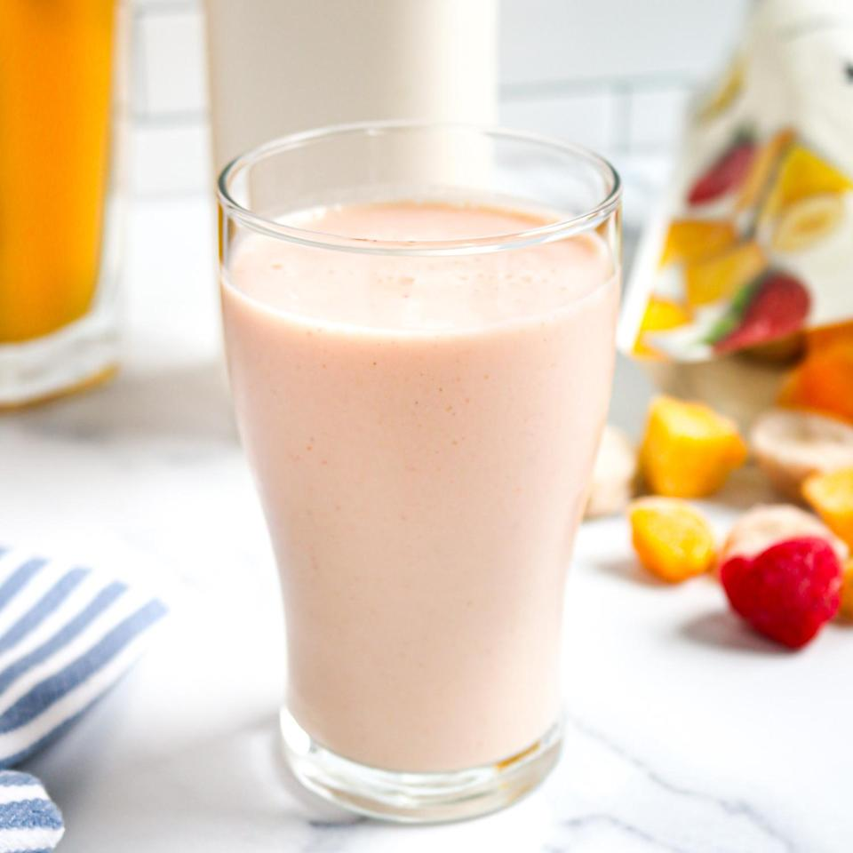 """<p>Refreshing and fruity, this simple smoothie calls for just three ingredients—frozen tropical fruit, plain kefir and tangerine juice. Kefir is a perfect swap for milk in smoothies. It adds creaminess and a boost of probiotics. If you can't find tangerine juice, swap in orange juice. <a href=""""https://www.eatingwell.com/recipe/7894345/3-ingredient-tropical-tangerine-smoothie/"""" rel=""""nofollow noopener"""" target=""""_blank"""" data-ylk=""""slk:View recipe"""" class=""""link rapid-noclick-resp""""> View recipe </a></p>"""