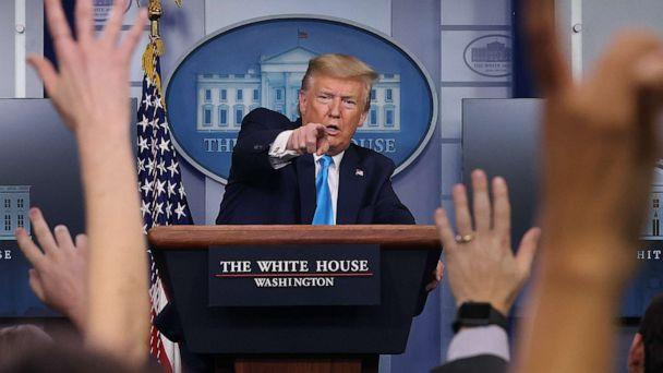 PHOTO: President Donald Trump speaks to reporters following a meeting of the coronavirus task force at the White House on April 7, 2020, in Washington. (Chip Somodevilla/Getty Images)