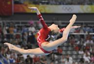 <p>Women's all-around gold medalist Nastia Liukin showed off some flexibility and strength through her floor exercises. </p>