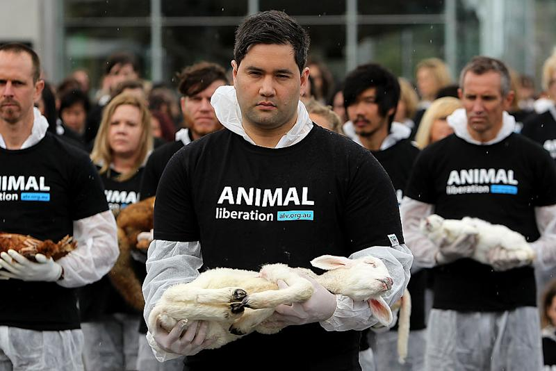 Animal Liberation Victoria activists in Melbourne in 2013. Source: Getty