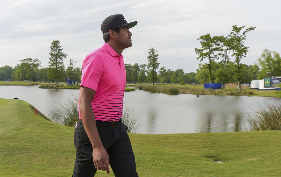Tony Finau walks to the 18th tee during the second round of the Zurich Classic golf tournament at TPC Louisiana in Avondale, La., Friday, April 23, 2021. (Max Becherer/The Times-Picayune/The New Orleans Advocate via AP)