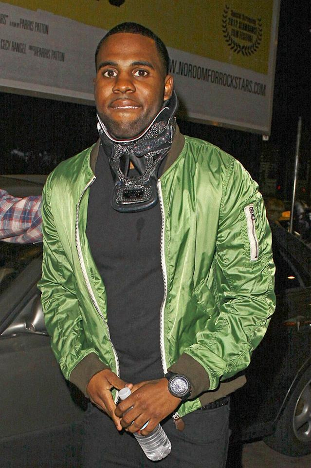 Jason Derulo wearing his rhinestone-encrusted neckbrace outside the Jessie J gig held at the Roxy Theater, Los Angeles