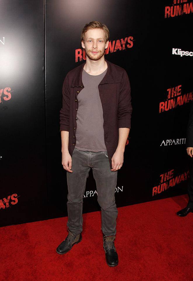 """<a href=""""http://movies.yahoo.com/movie/contributor/1807644971"""">Johnny Lewis</a> at the Los Angeles premiere of <a href=""""http://movies.yahoo.com/movie/1810129048/info"""">The Runaways</a> - 03/11/2010"""