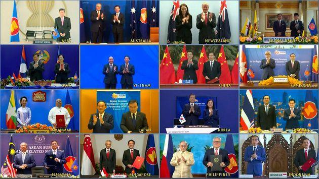 This image made from a teleconference provided by the Vietnam News Agency (VNA) shows the leaders and trade ministers of 15 Regional Comprehensive Economic Partnership (RCEP) countries on November 15, 2020.