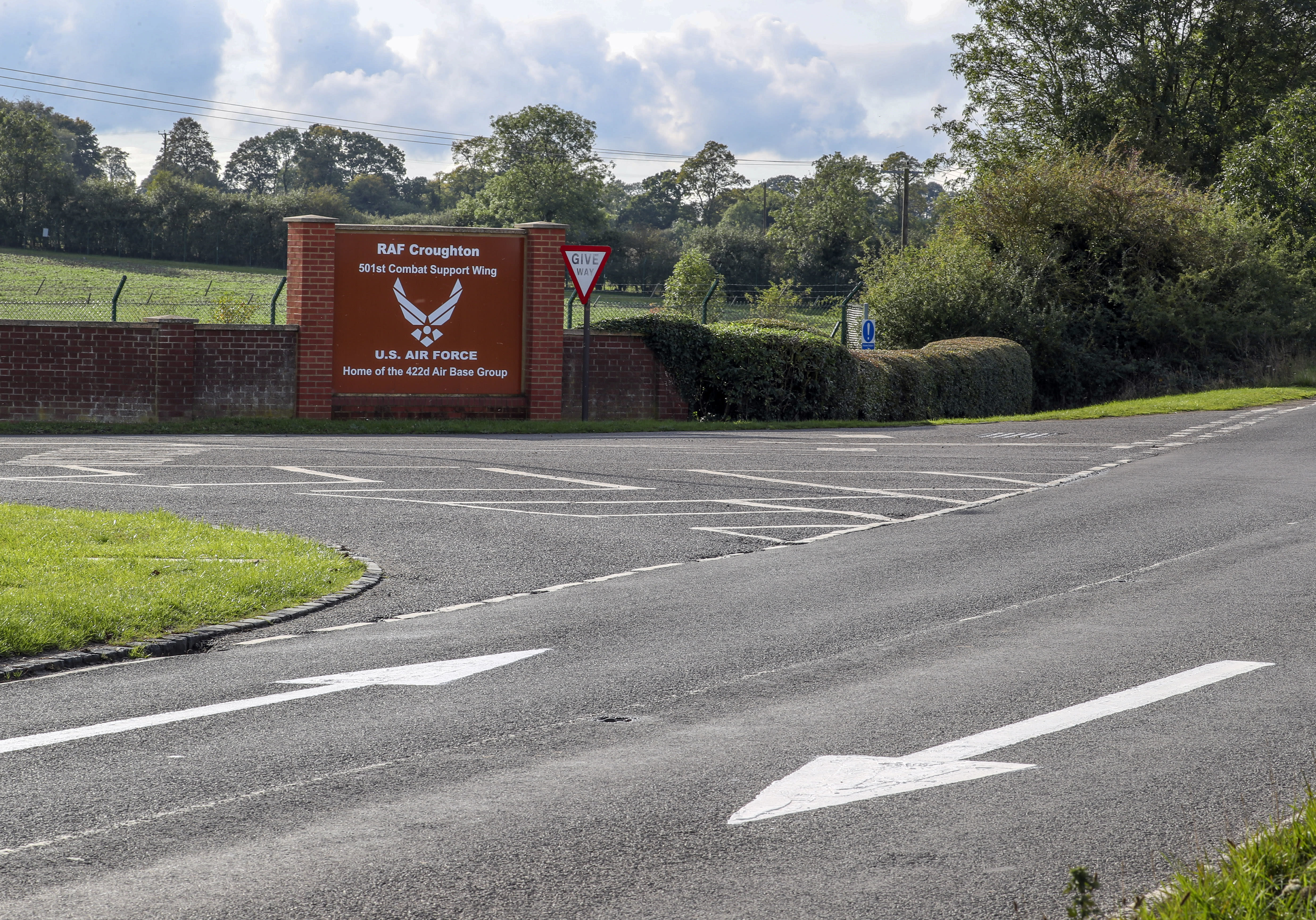 Drive on Left arrows on the road outside RAF Croughton, in Northamptonshire, near where Harry Dunn, 19, died when his motorbike was involved in a head-on collision in August.