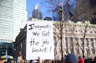 <p>Protesters and immigrants' rights' advocates rally in opposition to President Donald Trump's immigration order as it sowed more chaos and outrage across the country, Jan. 29, 2017, at Battery Park in New York. (Gordon Donovan/Yahoo News) </p>