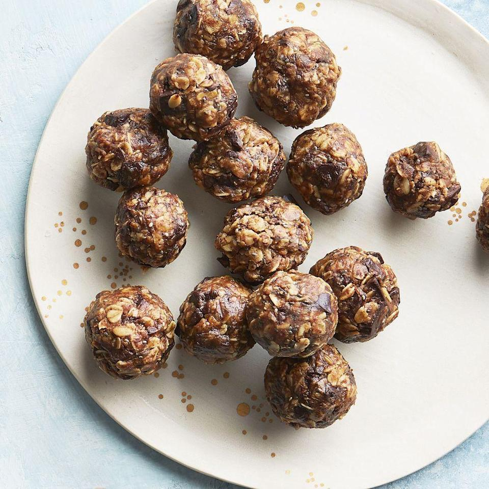 """<p>Not only will these satisfy your craving for something sweet, they'll also give you an energy boost when you need one and are perfect for on-the-go. Bonus: You can freeze them for up to three months.</p><p><strong><em><a href=""""https://www.prevention.com/food-nutrition/recipes/a34742422/almond-maple-energy-bites/"""" rel=""""nofollow noopener"""" target=""""_blank"""" data-ylk=""""slk:Get the recipe from Prevention »"""" class=""""link rapid-noclick-resp"""">Get the recipe from Prevention »</a></em></strong></p>"""