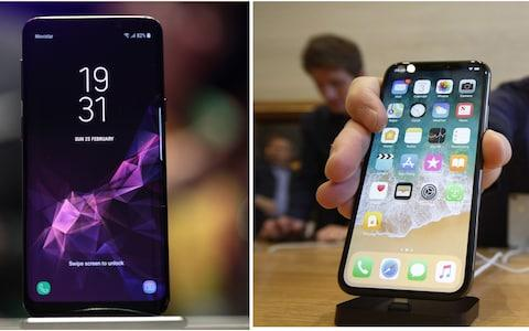 Samsung Galaxy S9 and iPhone X - Credit: Bloomberg/AP