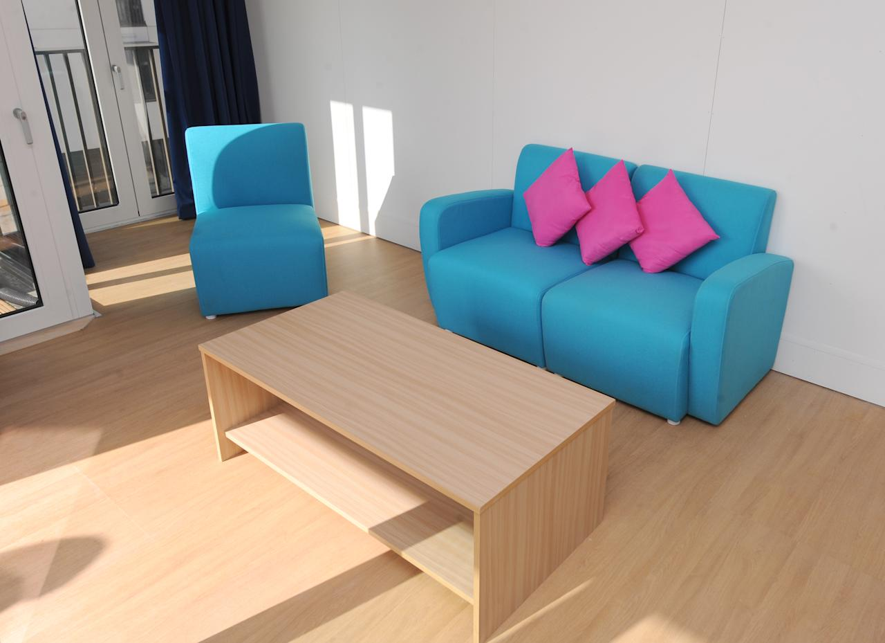 An apartment lounge in the Athlete's Village in the Athlete's Village at the Olympic Park in Stratford on March 15, 2012 in London, England. (Photo By Dominic Lipinski - WPA Pool/Getty Images)