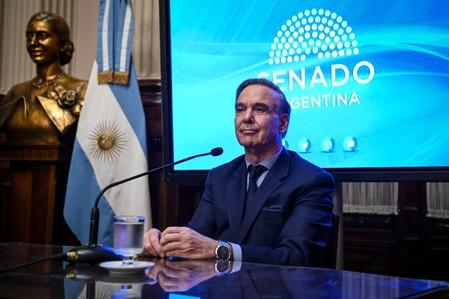 Argentina's Lawmaker and Vice President candidate for of the Cambiemos (Let's Change) coalition, Miguel Angel Pichetto looks on during a news conference at the National Congress in Buenos Aires