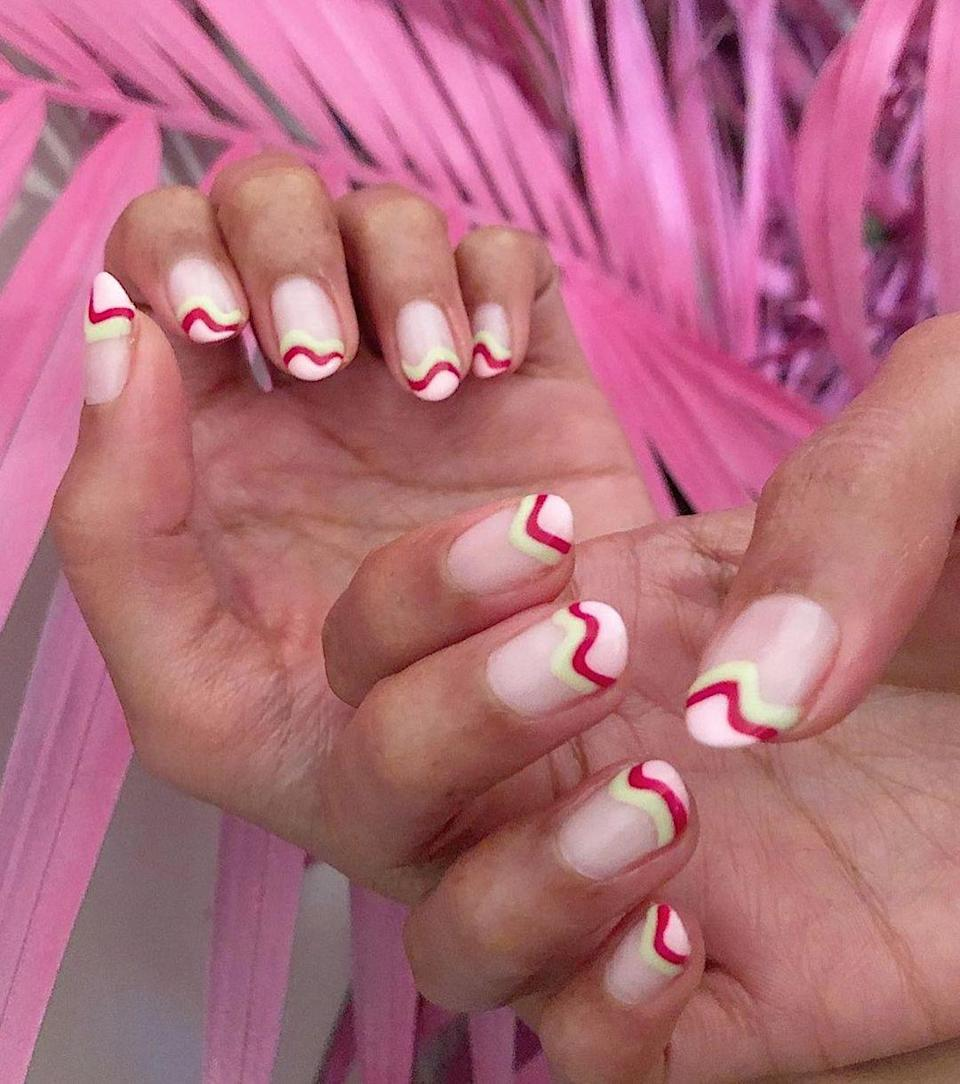This wavy mani would look right at home if you're spending the holidays in Palm Springs. Bonus, the imperfect swiggles are pretty easy to DIY.