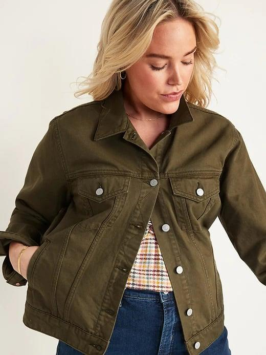 """<p>Not only does this <span>Old Navy Olive Green Non-Stretch Jean Jacket</span> ($34, originally $40) go with pretty much anything this fall, it's already <a href=""""http://www.popsugar.com/fashion/old-navy-olive-green-jean-jacket-review-48476711"""" class=""""link rapid-noclick-resp"""" rel=""""nofollow noopener"""" target=""""_blank"""" data-ylk=""""slk:editor-approved"""">editor-approved</a>.</p>"""