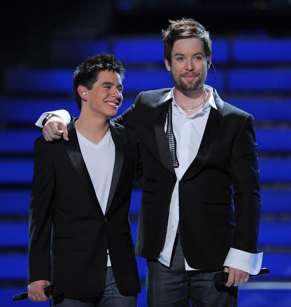 David Archuleta and David Cook onstage at the 'American Idol' Season 7 finale in 2008. (Photo: M. Caulfield/WireImage)