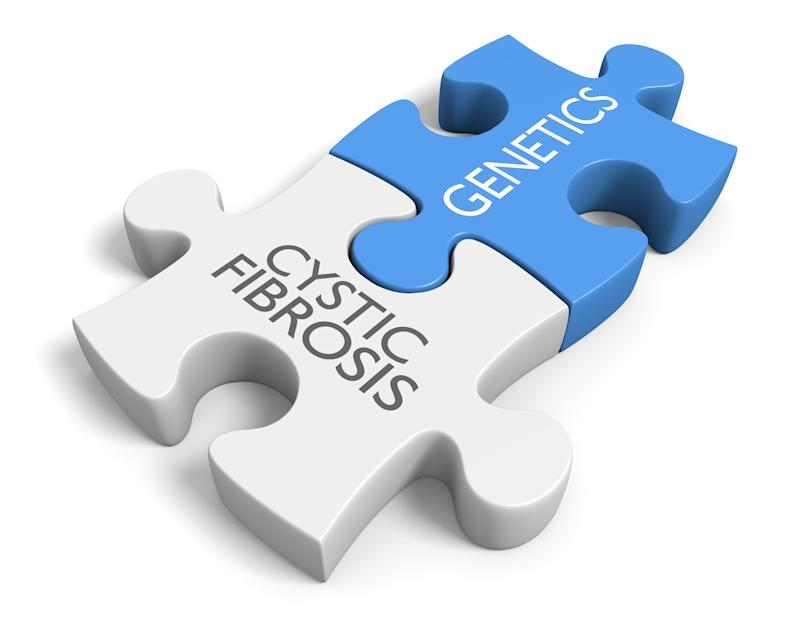 """Two jigsaw puzzle pieces connected with """"cystic fibrosis"""" and """"genetics"""" printed on them"""
