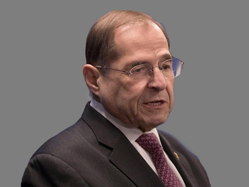 Jerrold Nadler headshot, as US Representative of New York and chair of the House Judiciary Committee, graphic element on gray