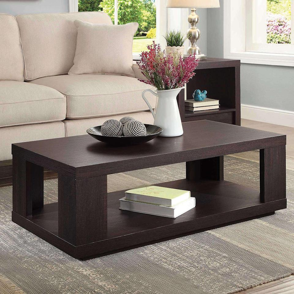 """<br><br><strong>Better Homes & Gardens</strong> Steele Coffee Table with Spacious Lower Shelf, $, available at <a href=""""https://go.skimresources.com/?id=30283X879131&url=https%3A%2F%2Ffave.co%2F3oeFtaB"""" rel=""""nofollow noopener"""" target=""""_blank"""" data-ylk=""""slk:Walmart"""" class=""""link rapid-noclick-resp"""">Walmart</a>"""