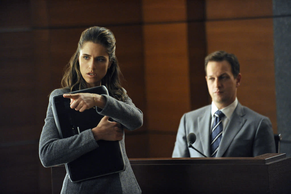 "Laura Hellinger (Amanda Peet) questions Will (Josh Charles) during a hearing to determine if the judge on Will's case is biased and should be removed in ""Here Comes the Judge,"" the eighth episode of ""The Good Wife"" Season 4."
