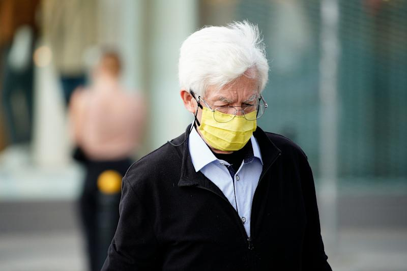 An elderly man wears a face mask in Warsaw, Poland on September 24, 2020. Poland has seen two consecutive days with record highs of new coronavirus infections. On Friday it has been reported that more than 1500 new cases were recorded, the highest amount by a large margin since the start of the epidemic. (Photo by Jaap Arriens/NurPhoto via Getty Images) (Photo: NurPhoto via Getty Images)