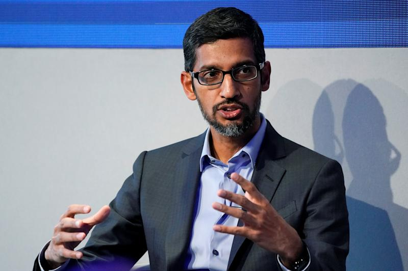 Sundar Pichai, Chief Executive Officer of Google, gestures as he speaks during the World Economic Forum (WEF) annual meeting in Davos, Switzerland January 24, 2018. REUTERS/Denis Balibouse
