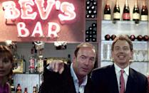 "PRIME MINISTER TONY BLAIR HOLDS A QUESTION AND ANSWER SESSION ON THE SET OF BROOKSIDE WHILE ON A VISIT TO LIVERPOOL. Britain's Prime Minister Tony Blair (R) attends a question and answer session with host Dean Sullivan, who plays Jimmy Corkhill in the Channel 4 soap opera Brookside, on the set of Bev's Bar while on a visit to Liverpool June 1, 2001. Former Conservative premier Margaret Thatcher warned today that Britain could end up with an ""elective dictatorship"" if Prime Minister Tony Blair is re-elected by a landslide next week as opinion polls forecast."