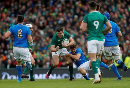 Rugby Union - Six Nations Championship - Ireland vs Italy - Aviva Stadium, Dublin, Republic of Ireland - February 10, 2018 Ireland's Jacob Stockdale in action REUTERS/Russell Cheyne