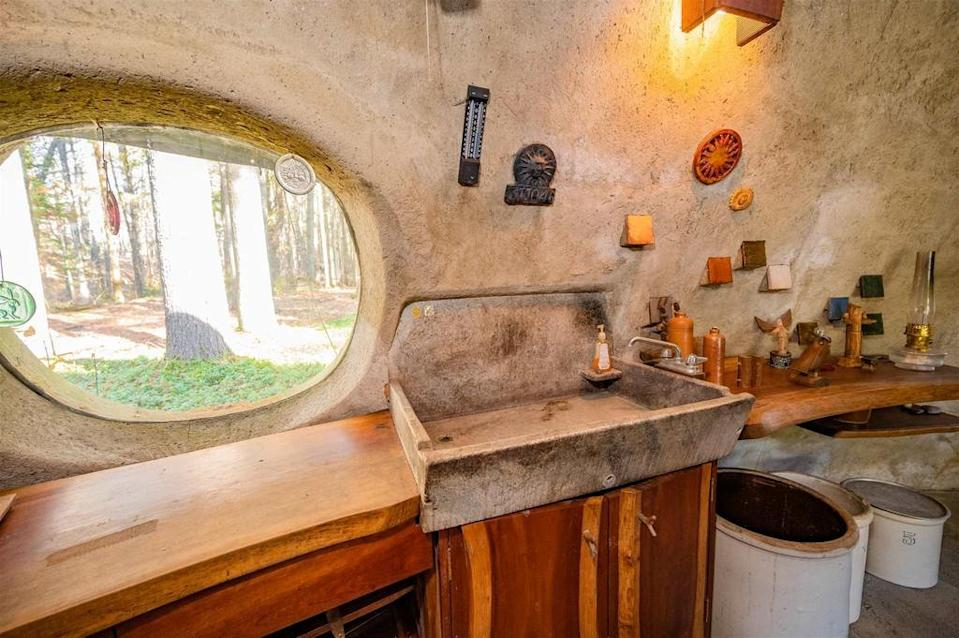 The beautiful hand-made sink in the kitchen. (SWNS)