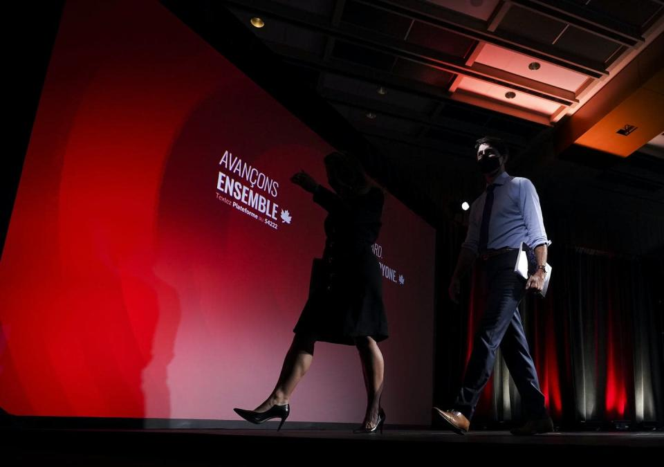 """<span class=""""caption"""">Liberal Leader Justin Trudeau, right, leaves the stage with MP candidate Chrystia Freeland after revealing his party's election platform.</span> <span class=""""attribution""""><span class=""""source"""">THE CANADIAN PRESS/Nathan Denette</span></span>"""