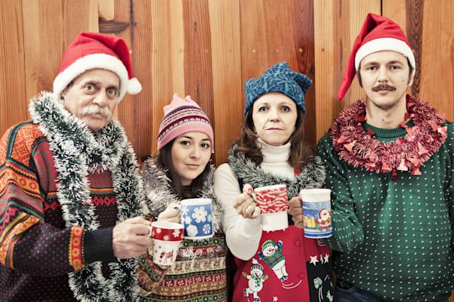 Portrait of a family in Christmas time.