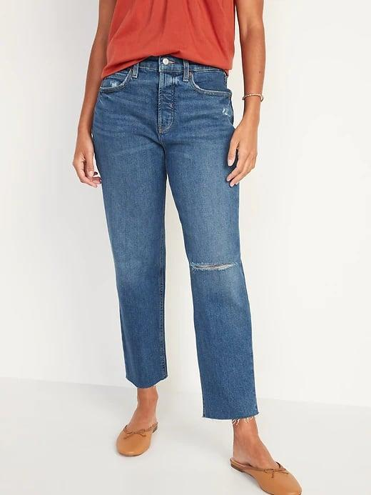 <p>These <span>Old Navy Extra High-Waisted Sky Hi Straight Button-Fly Ripped Jeans</span> ($50) would look just as cute with mules as they do with booties because we'd wanna let that raw hem shine.</p>