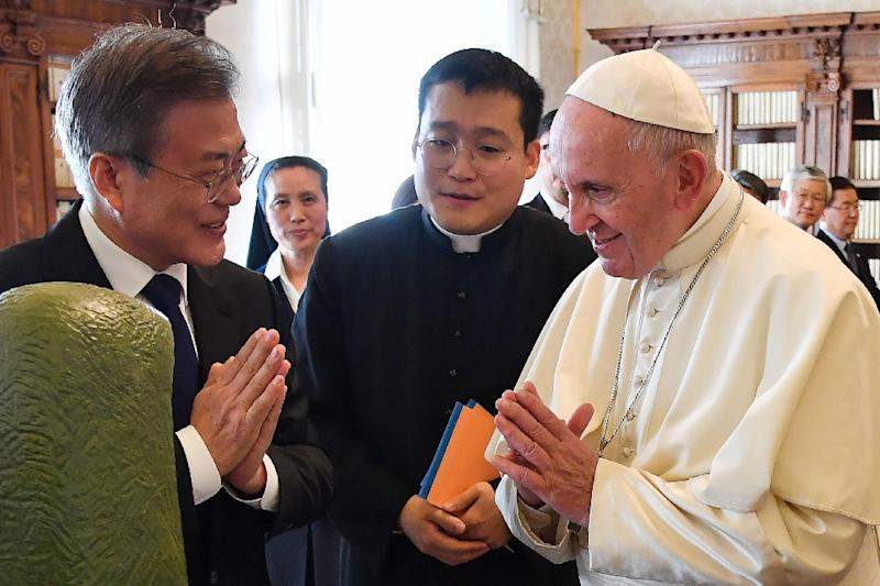 South Korean President Moon Jae-in briefed the pontiff about his recent visit to Pyongyang