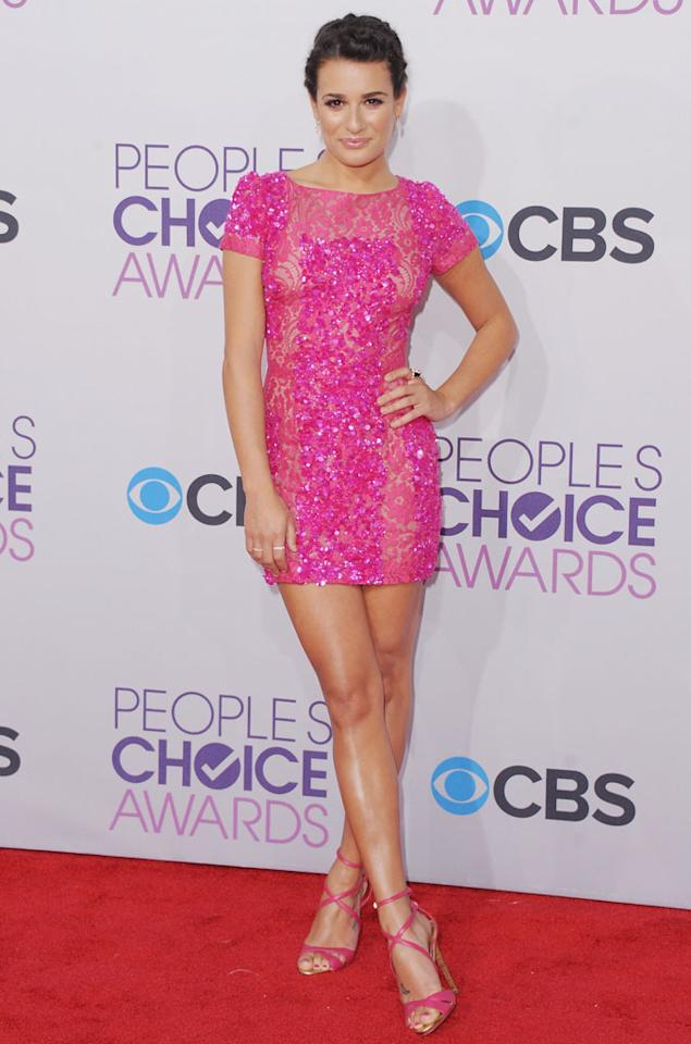 Lea Michele arrives at the 2013 People's Choice Awards at Nokia Theatre L.A. Live on January 9, 2013 in Los Angeles, California.