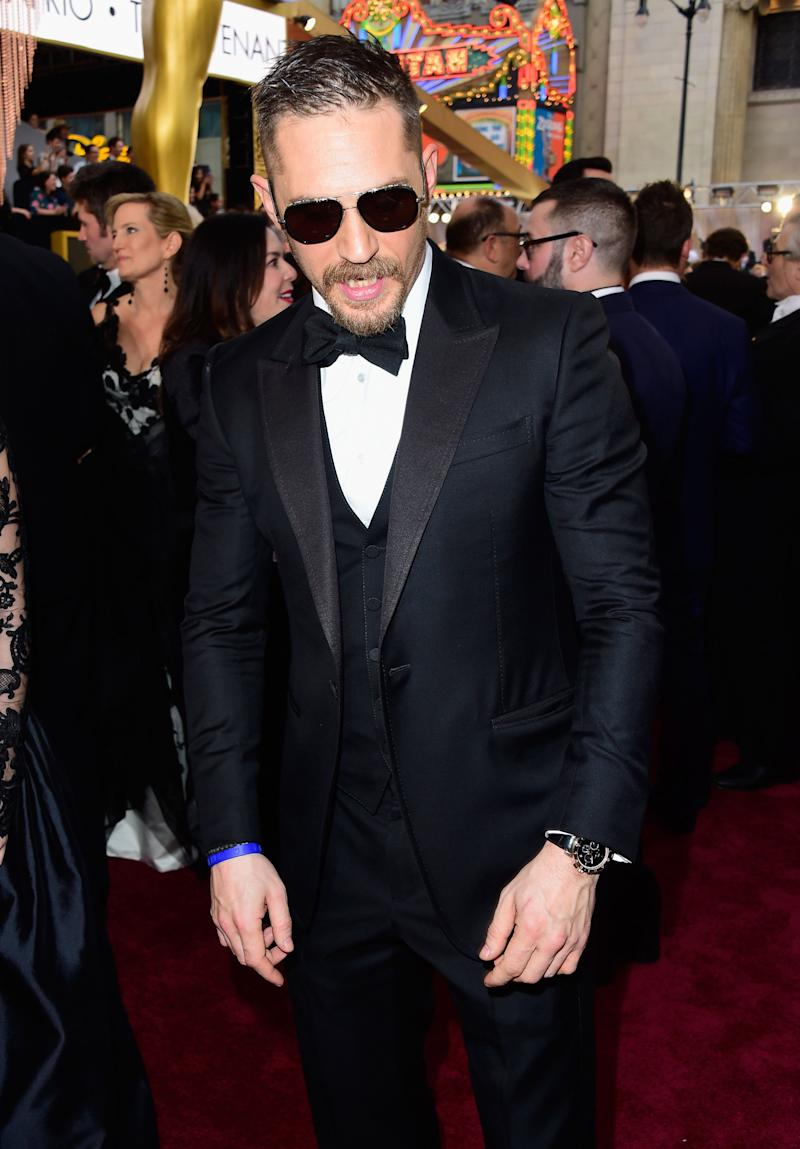 HOLLYWOOD, CA - FEBRUARY 28: Actor Tom Hardy attends the 88th Annual Academy Awards at Hollywood & Highland Center on February 28, 2016 in Hollywood, California. (Photo by Frazer Harrison/Getty Images)