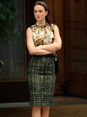 If your grandma loves it wear it! Leighton shows off her 'inner nan' in this mid-length tweed skirt.