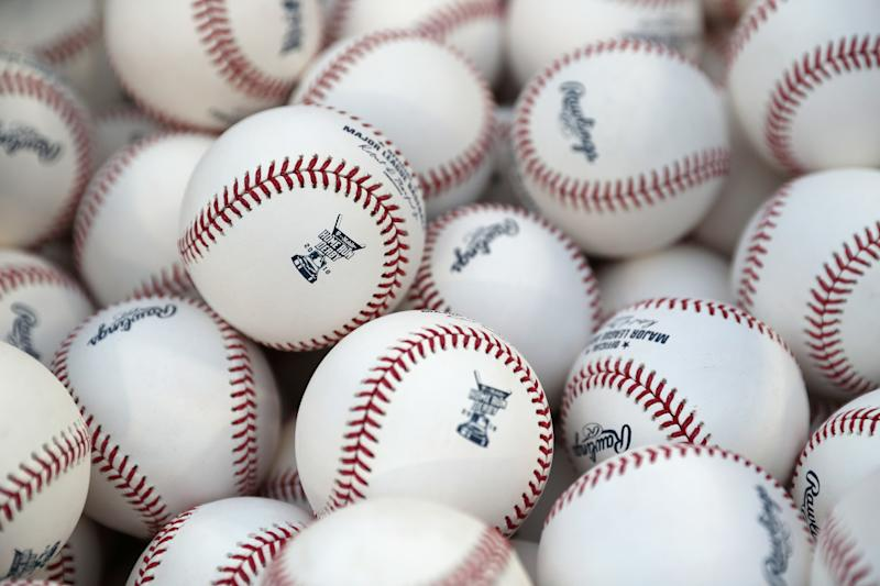 WASHINGTON, DC - JULY 16: A detail view of baseballs to be used during the T-Mobile Home Run Derby at Nationals Park on July 16, 2018 in Washington, DC. (Photo by Patrick Smith/Getty Images)